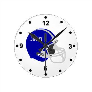 Blaue u graue Football-Helm-Wanduhr