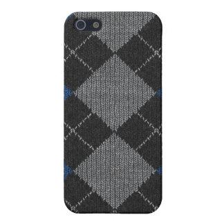 Blaue u. graue Strick-Raute Pern iPhone 5 Schutzhülle