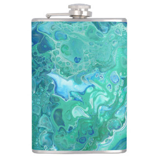 "Blaue u. grüne abstrakte Flasche - ""Atlantis "" Flachmann"