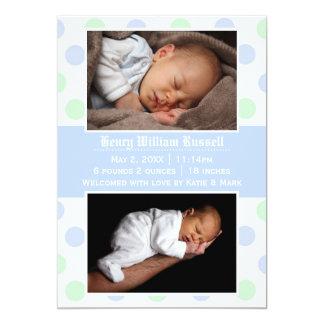Blaue u. grüne Punkte 2 Fotos - Geburts-Mitteilung 12,7 X 17,8 Cm Einladungskarte