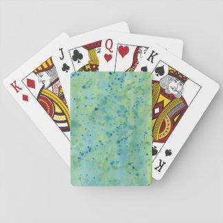 Blaue u. grüne Wasserfarbe platsch Spielkarten