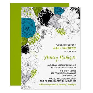 Blaue u. grüne wunderliche BlumenBabyparty Karte