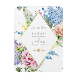 Blaue u. lila Watercolor-Blumen | Save the Date Magnet
