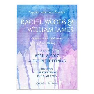 Blaue u. lila Wedding Einladung des Watercolor-|