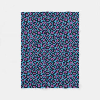 Blaue u. rosa Leopard-Druck-Fleece Fleecedecke