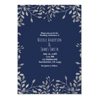 Blaue u. silberne botanische moderne 12,7 x 17,8 cm einladungskarte