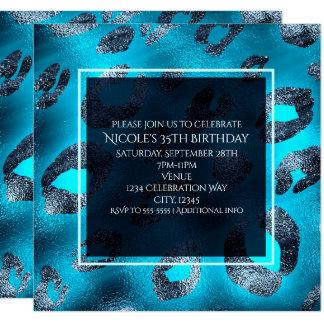Blaue u. silberne Leopard-Druck-Party Einladungen