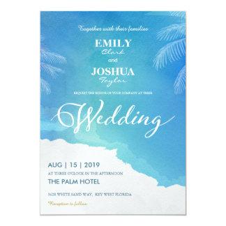 Blaue u. weiße Aquarell-Strand-Hochzeits-Einladung Karte