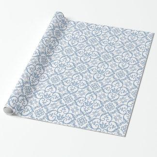 Blaue u. weiße Damast-Geschenk-Verpackung Einpackpapier