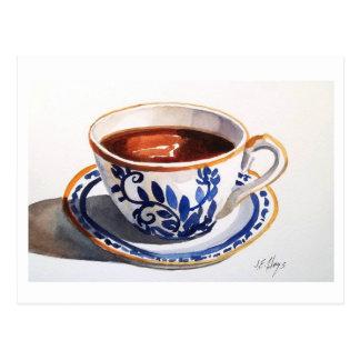 Blaue u. weiße Delftteacup-Postkarte