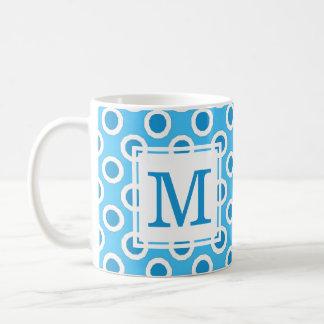 Blaue u. weiße große Punkt-Gewohnheit mit Kaffeetasse