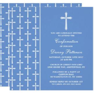 Blaue u. weiße quere heilige Kommunion oder Karte