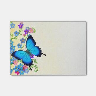 Blaue Ulysses-Schmetterlings-Post-Itanmerkungen Post-it Klebezettel