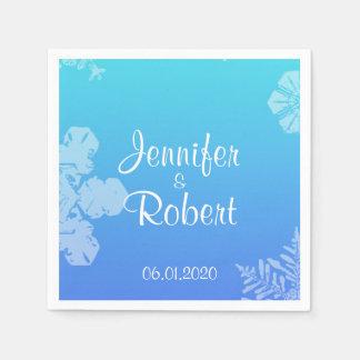 Blaue und aquamarine Schneeflocke-Posh Serviette