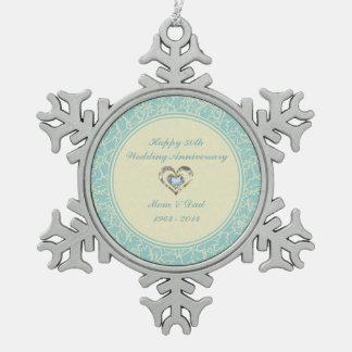 Blaue und beige Blumenpastelldamaste Schneeflocken Zinn-Ornament