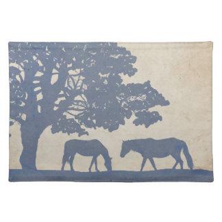 Blaue und Elfenbein-Vintage Pferdebauernhof-Hochze Tischsets