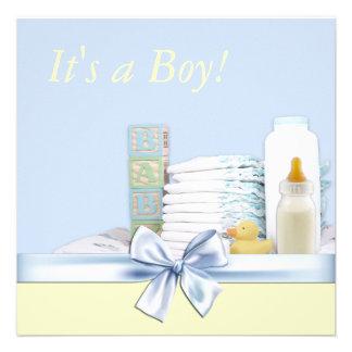 Blaue und gelbe Baby-Dusche Individuelle Ankündigung