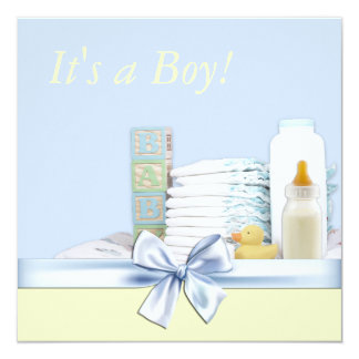 Blaue und gelbe Baby-Dusche Quadratische 13,3 Cm Einladungskarte
