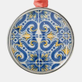 Blaue und gelbe Fliese, Portugal Silbernes Ornament