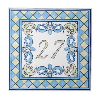 Blaue und gelbe große Hausnummer Kleine Quadratische Fliese