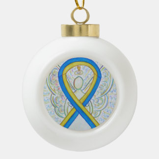 Blaue und gelbe keramik Kugel-Ornament