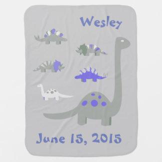 Blaue und graue Dinosaurier-Baby-Decke Baby-Decke