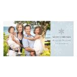 Blaue und graue Schneeflocke-Feiertags-Karte Fotokarten