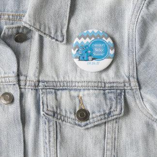 Blaue und graue Zickzack Elefant-Baby-Dusche Runder Button 5,7 Cm