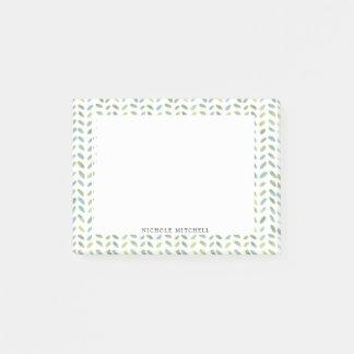 Blaue und grüne Blatt-Aquarell-Post-Itanmerkungen Post-it Klebezettel