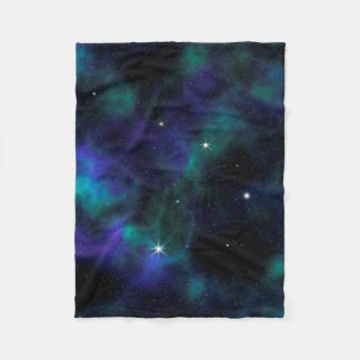 Blaue und grüne Galaxie-Fleece-Decke Fleecedecke