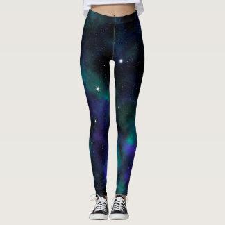 Blaue und grüne Galaxie Leggings