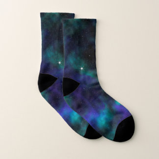 Blaue und grüne Galaxie Socken