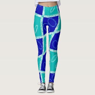 Blaue und grüne Gamaschen Leggings