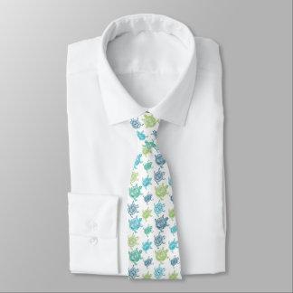 Blaue und grüne Schildkröte-Muster-Krawatte Krawatte