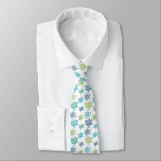 Blaue und grüne Schildkröte-Muster-Krawatte Personalisierte Krawatte