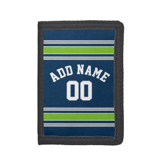 Blaue und grüne Sport-Jersey-Name-Zahl