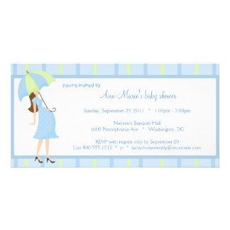 Blaue und grüne Tupfen-Babyparty-Einladung Personalisierte Foto Karte