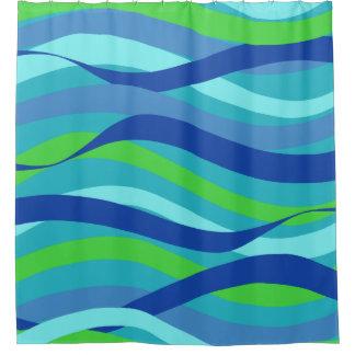 Blaue und grüne Wellen Duschvorhang