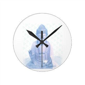 blaue und kleine weiße Maus Buddhas Runde Wanduhr