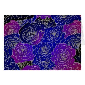 Blaue und lila Blumen Karte
