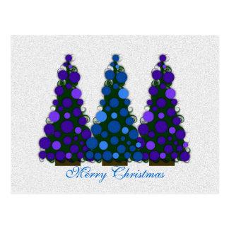 Blaue und lila fröhliche Weihnachtsbaum-Postkarte Postkarte
