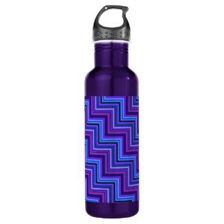 Blaue und lila Streifentreppe Trinkflasche