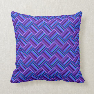 Blaue und lila Streifenwebart Kissen