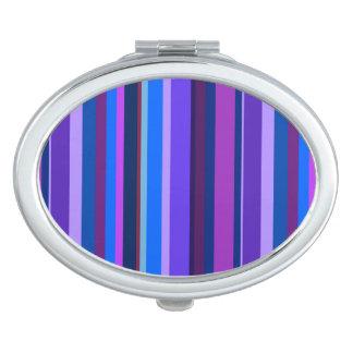 Blaue und lila vertikale Streifen Taschenspiegel