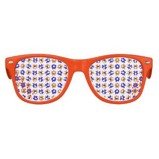 Blaue und orange Blumen Sonnenbrille