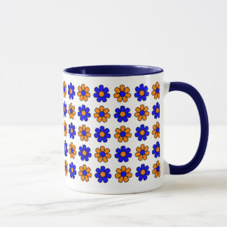 Blaue und orange Blumen-Tasse Tasse