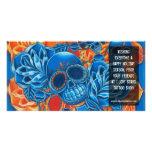 Blaue und orange Schädel-Foto-Karten-Schablone Individuelle Photo Karte