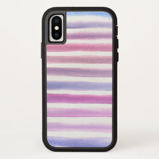 Blaue und rosa Aquarell-Streifen iPhone X Hülle