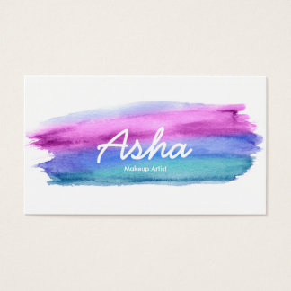 Blaue und rosa Aquarell-Visitenkarten Visitenkarten