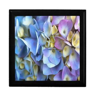 Blaue und rosa Hydrangea-Blumen Geschenkbox